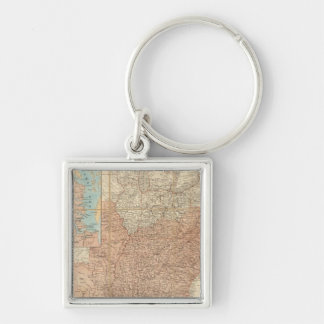 United States 2 Silver-Colored Square Keychain