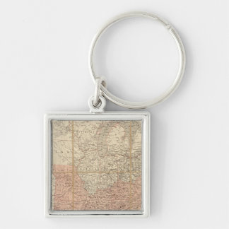 United States 37 Silver-Colored Square Keychain