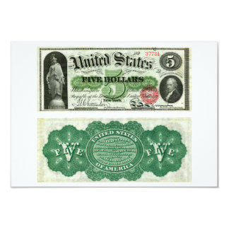 United States $5 Banknote Series of 1863 3.5x5 Paper Invitation Card