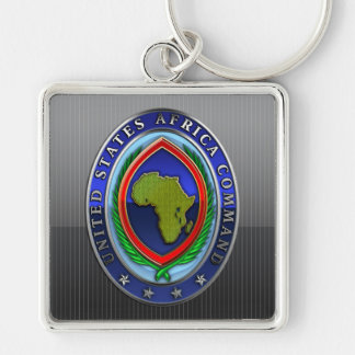 United States Africa Command Silver-Colored Square Keychain