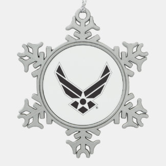 United States Air Force Logo - Black Snowflake Pewter Christmas Ornament