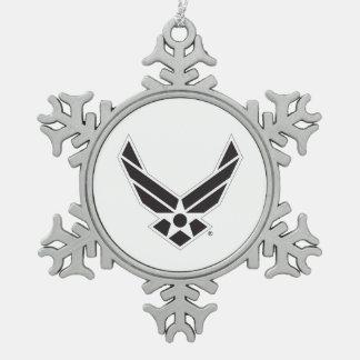 United States Air Force Logo - Black Snowflake Pewter Christmas Ornament