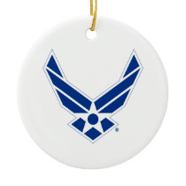 United States Air Force Logo - Blue Ceramic Ornament