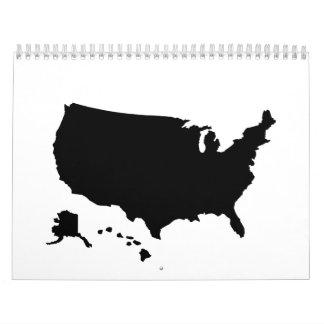 United States Alaska Hawaii map Calendars