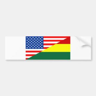 united states america bolivia half flag usa countr bumper sticker