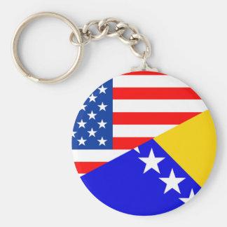 united states america bosnia herzegovina half flag basic round button keychain