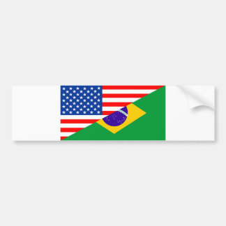united states america brazil half flag usa country bumper sticker