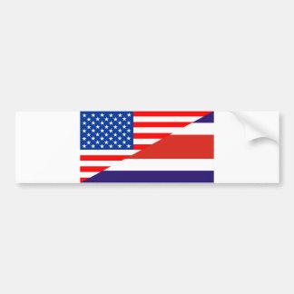 united states america costa rica half flag usa cou bumper sticker