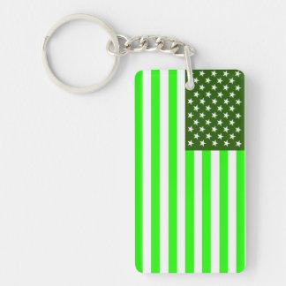 united states america country ecology green flag Single-Sided rectangular acrylic keychain