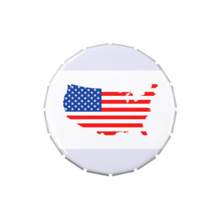 united states america country map flag shape label jelly belly candy tins