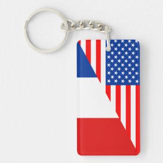 united states america france half flag usa country keychain