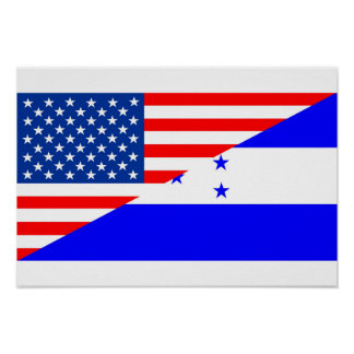united states america honduras half flag usa count poster