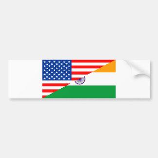 united states america india half flag usa country bumper sticker
