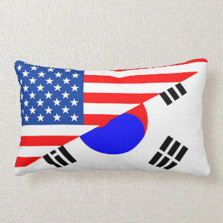 united states america korea half flag usa throw pillow