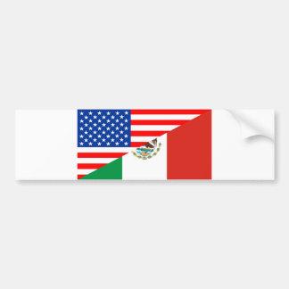 united states america mexico half flag usa country bumper sticker