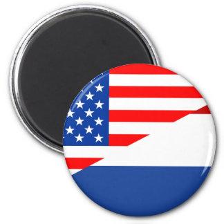 united states america netherlands half flag  usa magnet