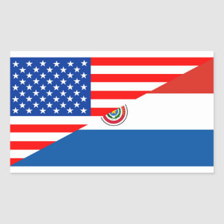 united states america paraguay half flag usa count rectangular sticker