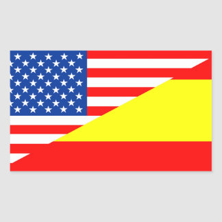 united states america spain half flag usa country rectangular sticker