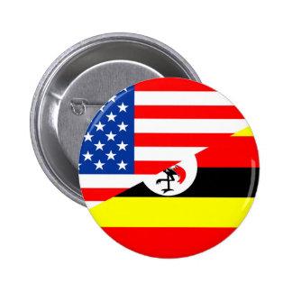 united states america uganda half flag usa country button