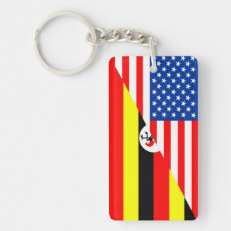 united states america uganda half flag usa country keychain