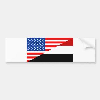 united states america yemen half flag usa country bumper sticker