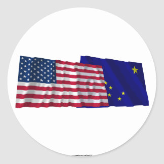 United States and Alaska Waving Flags Classic Round Sticker