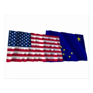 United States and Alaska Waving Flags Postcard