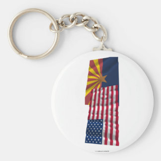 United States and Arizona Waving Flags Basic Round Button Keychain