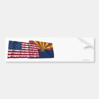 United States and Arizona Waving Flags Bumper Sticker