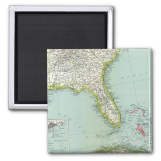 United States and Bahamas 2 Inch Square Magnet