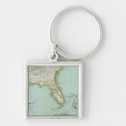 United States and Bahamas Silver-Colored Square Keychain