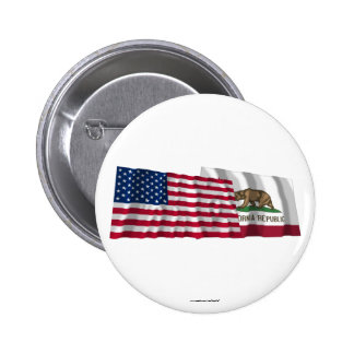 United States and California Waving Flags Pinback Buttons
