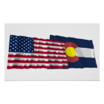 United States and Colorado Waving Flags Posters