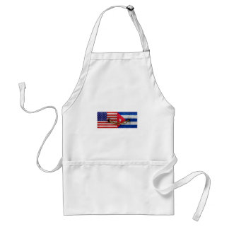 United States and Cuba Flags United Adult Apron