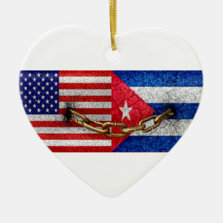 United States and Cuba Flags United Ceramic Ornament