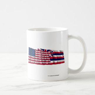 United States and Hawaii Waving Flags Coffee Mug