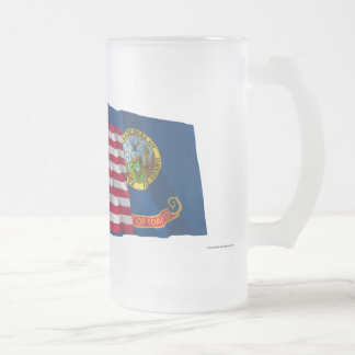 United States and Idaho Waving Flags Frosted Glass Beer Mug