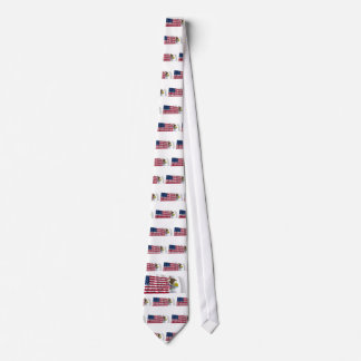 United States and Illinois Waving Flags Neck Tie