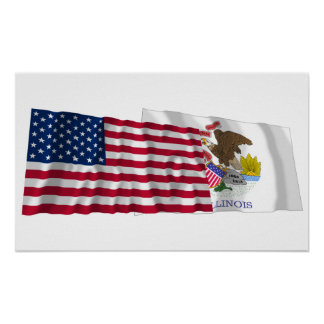 United States and Illinois Waving Flags Poster