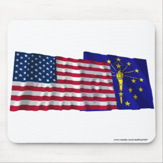 United States and Indiana Waving Flags Mouse Pad