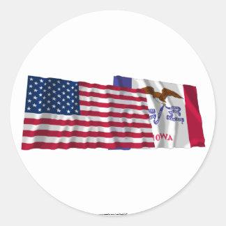 United States and Iowa Waving Flags Classic Round Sticker