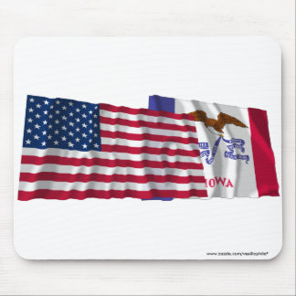 United States and Iowa Waving Flags Mouse Pad