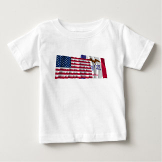 United States and Iowa Waving Flags T-shirts