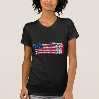 United States and Iowa Waving Flags T Shirt