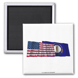 United States and Kentucky Waving Flags 2 Inch Square Magnet