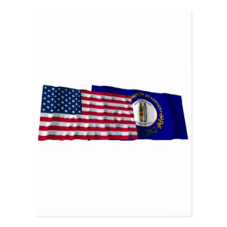 United States and Kentucky Waving Flags Postcard