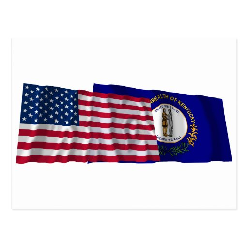 United States and Kentucky Waving Flags Postcards