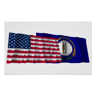 United States and Kentucky Waving Flags Poster