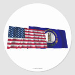 United States and Kentucky Waving Flags Classic Round Sticker