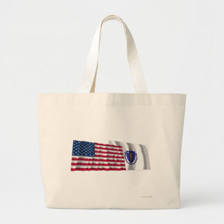 United States and Massachusetts Waving Flags Tote Bags